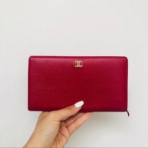 Chanel bi fold long wallet in lambskin-red